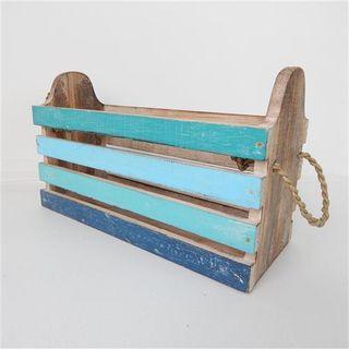 Wooden Slat Box Blues 32cm x 13cm x 20cm high