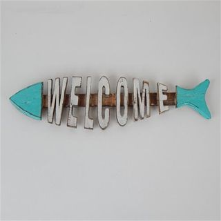 Fish Welcome Sea Green 43cm x 13cm high