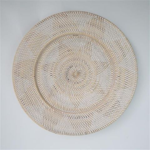 Lombok Deco Plate White/Nat 60cm dia