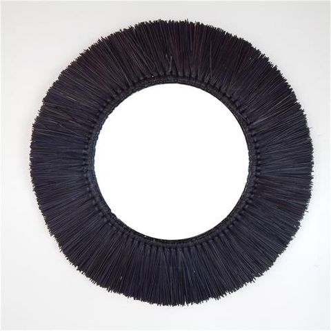 Panang Grass Mirror Black 60cm dia / Mirror 33cm