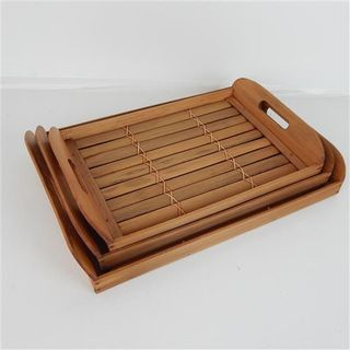Bamboo Trays s/3 Natural 36cm/38cm/42cm