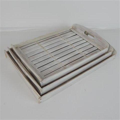 Bamboo Trays s/3 Whitewash 36cm/38cm/42cm