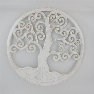Carved Tree of Life Whitewash 40cm
