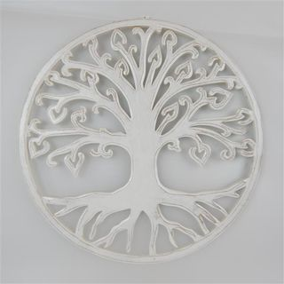 Carved Tree of Life Fine Whitewash 40cm