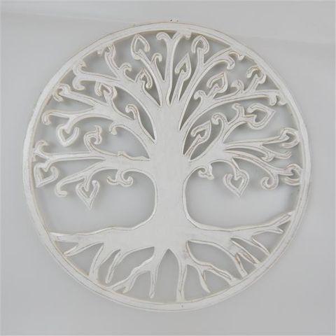 Carved Tree of Life Fine Whitewash 40cm