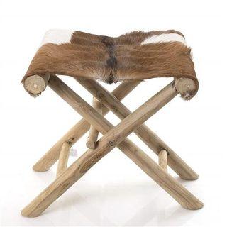 Gruff Goat Skin Folding Stool 40cm x 35cm x 45cm high