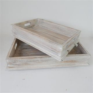 Wooden Trays s/2 Whitewash 40/50cm