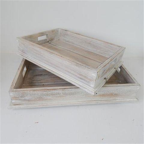 Wooden Trays s/2 Whitewash 40/50cm
