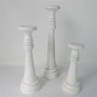 Crosshatch Candlesticks s/3 White 30/40/50cm high