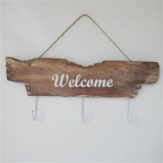 Drift Welcome Key Hook Whitewash 20cm x 48cm