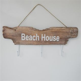 Drift Beach House Key Hook Whitewash 20cm h x 48cm wide