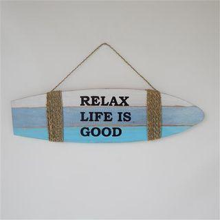 "Surfboard ""Relax Life is Good"" White/Blue/Aqua 15x50cm"