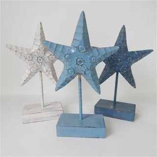 Carved Starfish on Stand s/3 White/Blue/Dk Blue 23cm x 40cm