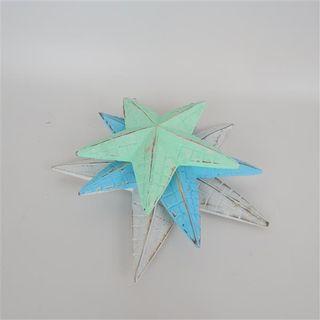 Carved Starfish s/3 White/Blue/Dk Blue 24cm x 24cm