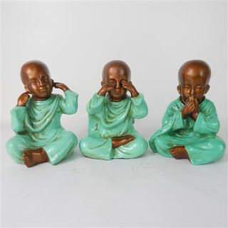 Rina Buddhas See no Evil s/3 Teal 23cm high