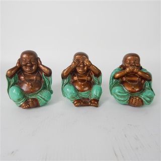 Rina Fat Buddhas Sml See no Evil Teal 8cm x 10cm high