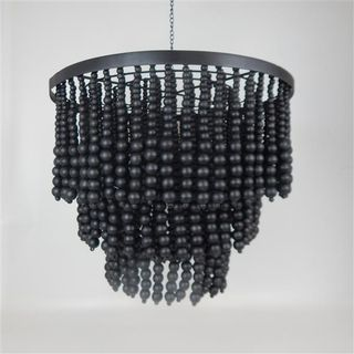 Beaded 3 Tier Chandalier Black 50cm x 45cm high