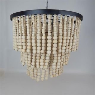Beaded 3 Tier Chandalier Natural 50cm x 45cm high
