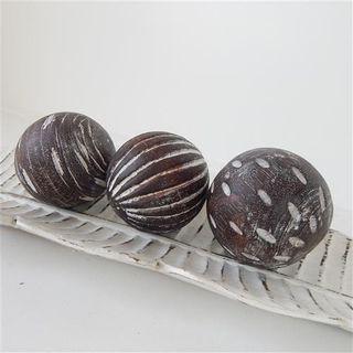 Wooden Deco Balls s/3 10cm dia