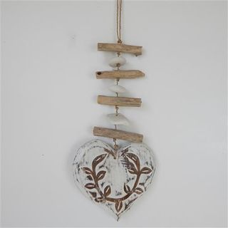 Menya Deco Heart Single Large Whitewash 16cm x 33cm long