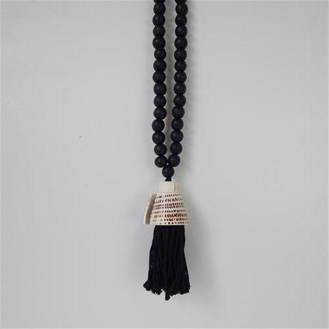 Macrame Tassel w Shell  Black 60cm long