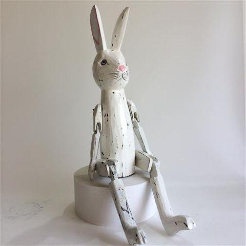 Vintage Rabbit Whitewash 25cm high