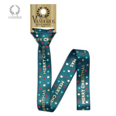 HANGSELL -SATIN JOLLY CHRISTMAS EVERGREEN/GOLD 25mmX2M