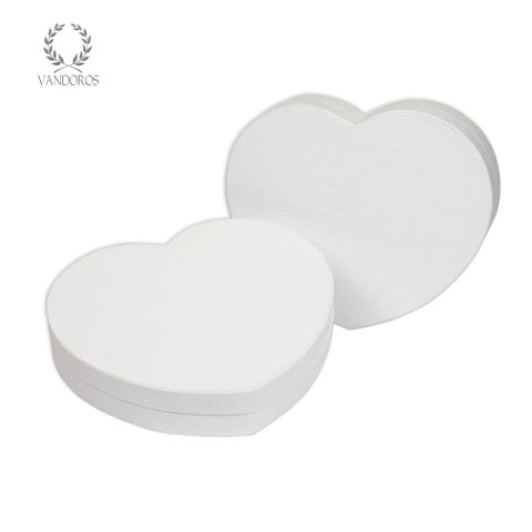 AHBWH18 HEART BOX WHITE EMBOSSED