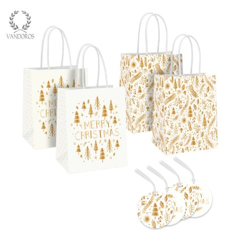 MERRY CHRISTMAS BAG + TAG GOLD/WHITE PACK/4