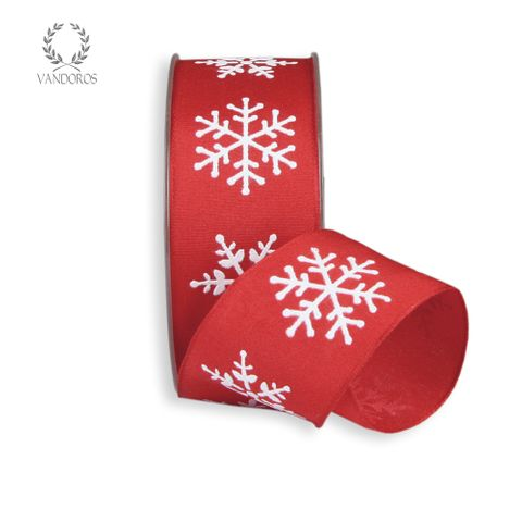 CRYSTAL SNOWFLAKE PRINTED TAFFETA RED/WHITE