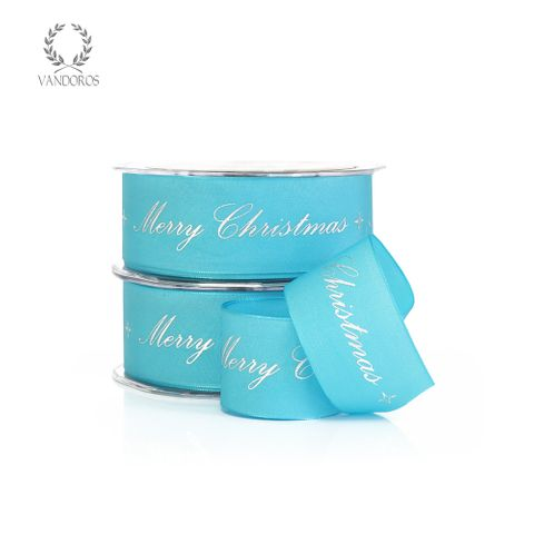MERRY CHRISTMAS CALLIGRAPHY TURQUOISE/SILVER