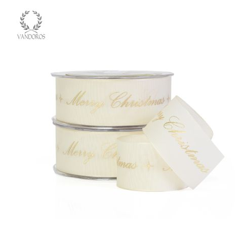 MERRY CHRISTMAS CALLIGRAPHY IVORY/GOLD