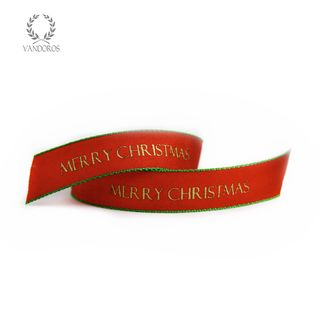 MERRY CHRISTMAS WOVEN RED/GREEN 10mmX100M