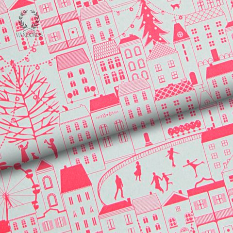 CHRISTMAS IN THE CITY UNCOATED NEON PINK/WHITE 80gsm