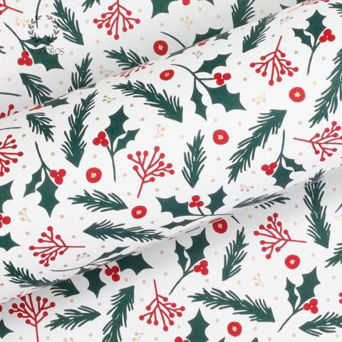 HOLLY & BERRIES RED/GREEN/GOLD UNCOATED 80gsm