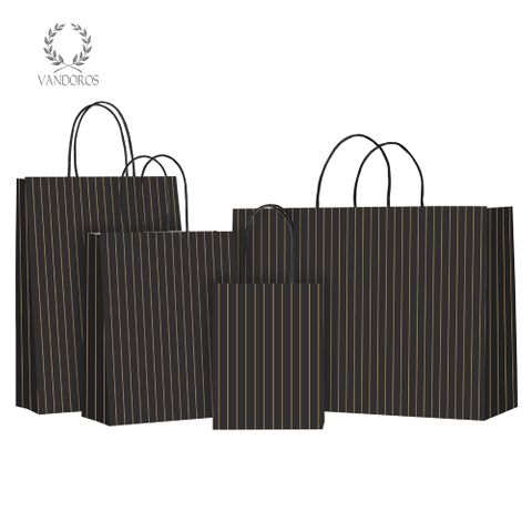 TWISTED HANDLE BAG PINSTRIPE LIQUORICE/GOLD