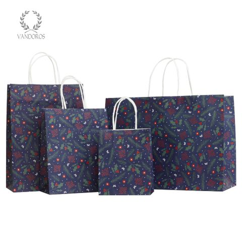 TWISTED HANDLE BAG HOLLY & BERRIES