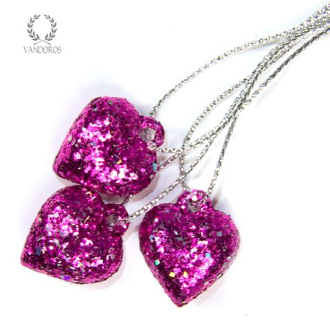 20mm FUCHSIA GLITTER HEART