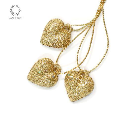 FLAT BACK 20mm GOLD GLITTER HEART