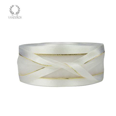 AN056-A030 WHITE SATIN FINE GOLD