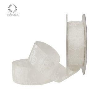 SCROLL HEARTS WHITE/IRIDESCENT 25mmX25M