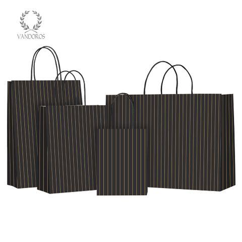 TWISTED HANDLE BAG PINSTRIPE LIQUORICE/GOLD