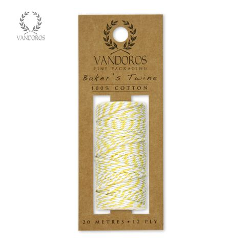 BAKER'S TWINE 20M ROLL YELLOW/WHITE