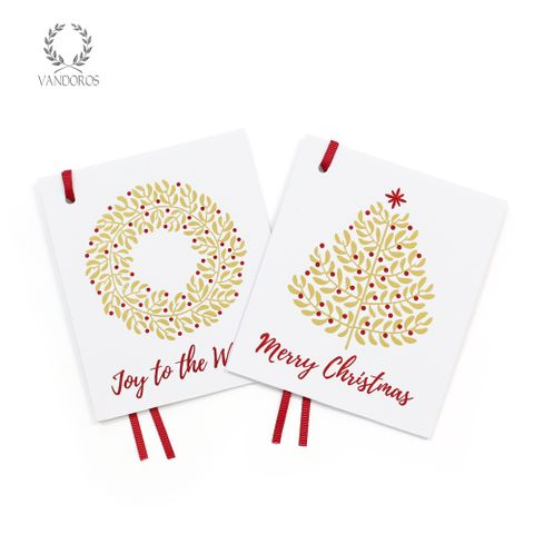 MISTLETOE GIFT TAG GOLD/RED PACK OF 4