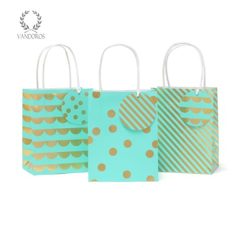 PARTY BAG & TAG TURQUOISE/GOLD PACK/3