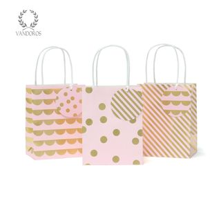 PARTY BAG & TAG CAMEO PINK/GOLD PACK/3