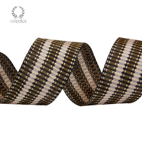 2428-50 BLACK/BROWN WOVEN STRIPE