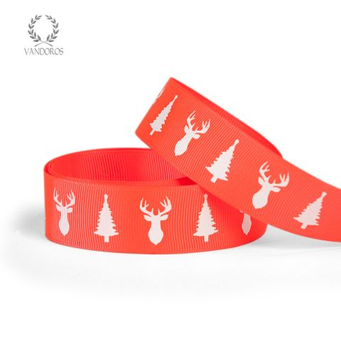 GROSGRAIN DEER & TREE NEON RED