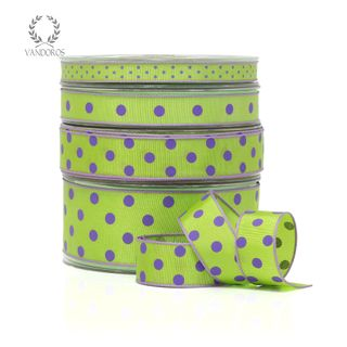 LADYBIRD LIME/PURPLE DOTS 25mmX25M