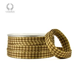 EMILY GINGHAM CHOCOLATE/GOLD 10mmX50M